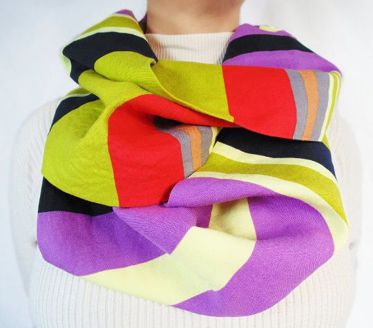 Striped Infinity Scarf Navy Blue Bright Red Olive Green