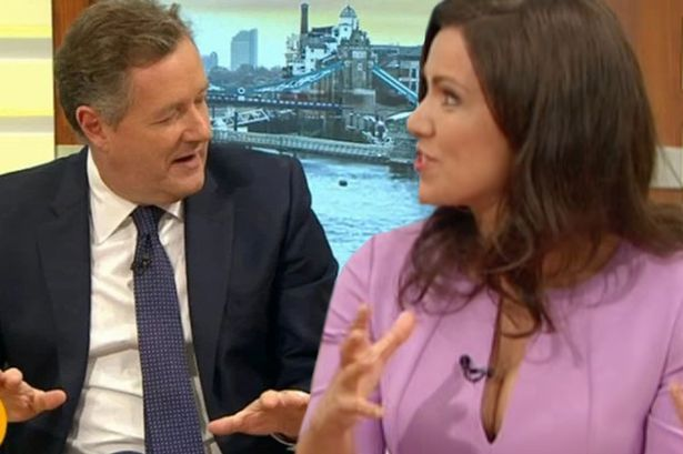 Piers Morgan caught checking out 'sexy' Susanna Reid's cleavage as she hosts GMB in VERY low cut dress #piers #morgan #caught #checking…