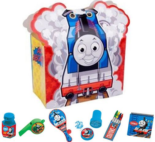 THOMAS THE TANK ENGINE PARTY BAG: • Thomas the Tank Engine Bubbles    • Thomas the Tank Engine Whistle    • Thomas the Tank Engine Paddle  • Thomas the Tank Engine Stamp  • Thomas the Tank Engine Crayons  • Thomas the Tank Engine Notebook