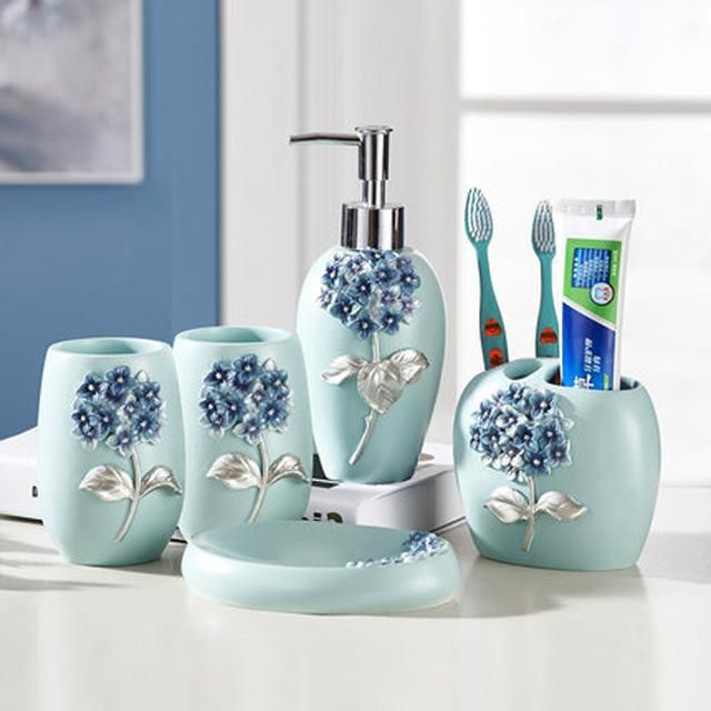 5pcs Set Creative Luxury Bathroom Accessories Set Resin Gargle Soap Box Lat Bathroom Accessories Sets Bathroom Accessories Uk Contemporary Bathroom Accessories