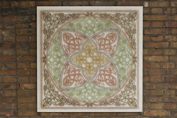 Moataz Nasr, Khayameya, 2012, matches on wood, Plexiglas, 100 x 100 cm. Galleria Continua Beijing, 2012. Photo by Oak Taylor-Smith.