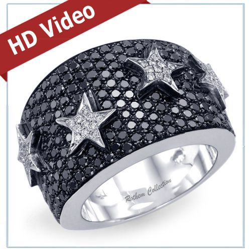 The Perfect Gift for Anniversary - The Real Rothem Collection's One of a Kind 17mm wide 14k White Gold Right Hand Diamond Anniversary Band featuring pave setting of 235 Naturally Mined Black & White Round Natural Diamonds totaling 2.51 carat with our Unique Four Stars Design.