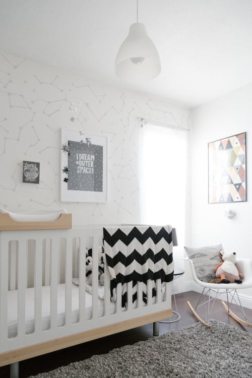Simple and cozy baby room in scandinavian style