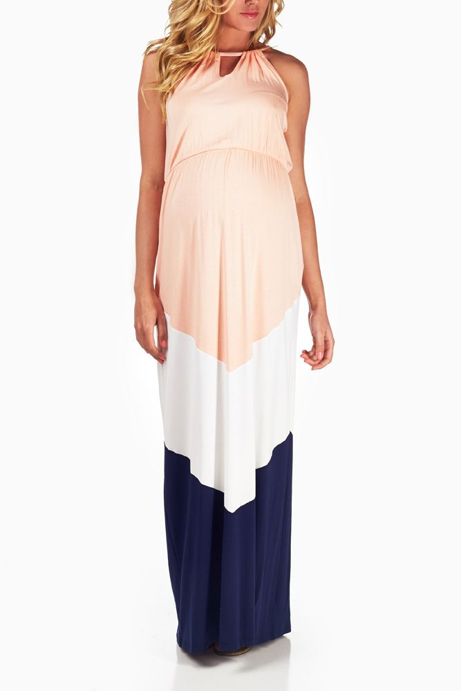 Pink-White-Navy-Blue-Colorblock-Maternity-Maxi-Dress #maternity #fashion