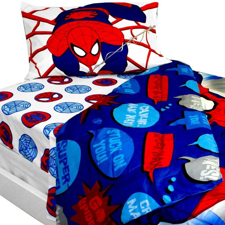 Bold Spiderman Bedding Set Marvel Comics Superhero Comforter and Sheets: Twin