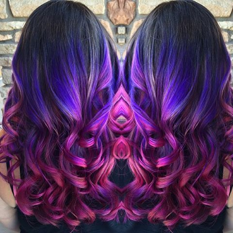 Gorgeous mermaid hair color and mermaid waves. Artist credit to come. Purple hair color melting into rich magenta hair color. hotonbeauty.com
