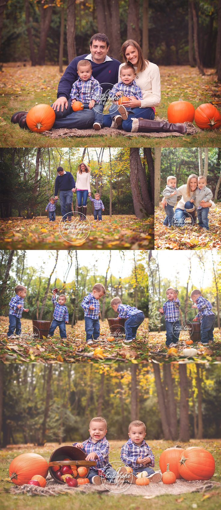 An autumn outdoor family portrait session with 18 month old twin boys! #autumn…