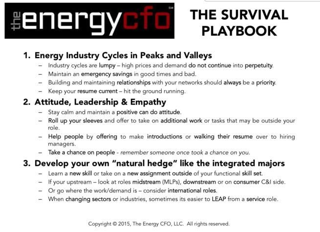 Interesting @PinkPetro panel on how 2 deal w oil downturn. But this survival playbook is applicable 2 all industries.