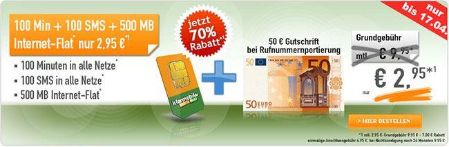 Vodafone Netz ► 500MB Internet Flat mit 100 Minuten für 2,95€ http://www.simdealz.de/vodafone/klarmobil-smart-flat-500mb/