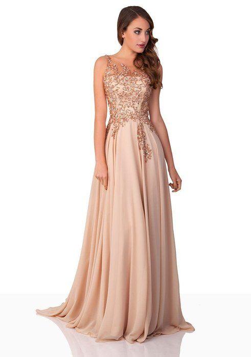 VIP Dress Chiffon Abendkleid / langes Ballkleid / Festkleid in Beige, Größe 36