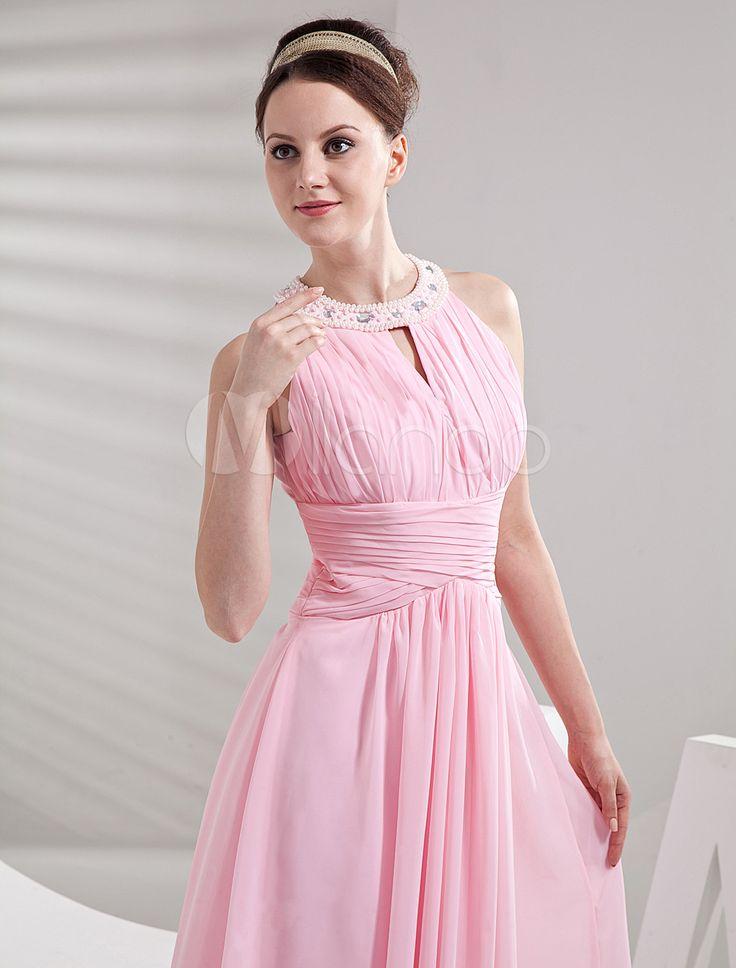 Vestido de dama de honra do cetim de Metta Chiffon a linha de pescoço jóia rosa