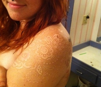White Ink Lace Shoulder Tattoo