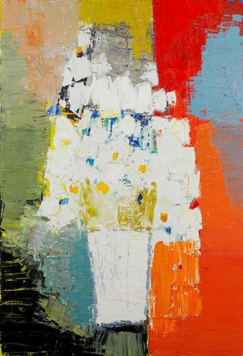 Nicolas de Staël (1914-1955)  was known for his use of a thick impasto & his highly abstract landscape painting. Evolving his own highly distinctive and abstract style, which bears comparison with the near-contemporary American Abstract Expressionist movement, and French Tachisme, but which he developed independently of them. Typically his paintings contained block-like slabs of colour, emerging as if struggling against one another across the surface of the image.