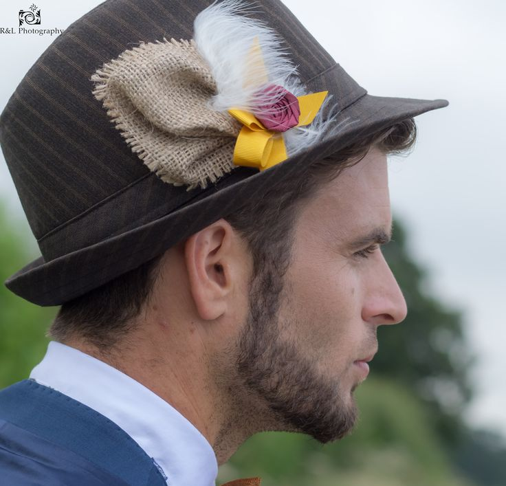 Couture, bespoke hat adornments from Lilly Dilly's x #wedding #groom #feather #hat #marsala #mustard
