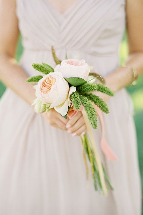 A Simple And Wedding Bouquet Compliments The Delicate Dusty Rose Colored Bridesmaid Dress
