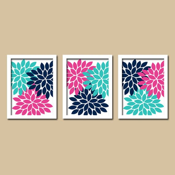 Flower wall art canvas or prints girl nursery turquoise for Turquoise wall decor