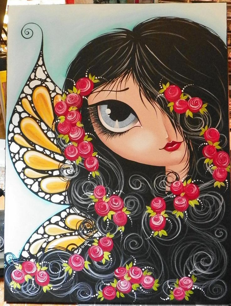 Butterfly Fairy ORIGINAL painting CANVAS large artwork by Megan Suarez