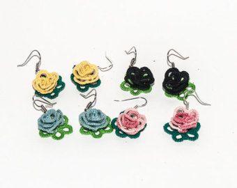 Devil Eye earrings  Tatting jewelry  Summer earrings by NazoDesign