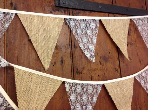 Burlap Hessian & ivory lace Wedding Bunting Banner by Dollyblue11