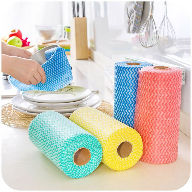 Roll of 50Pcs Multipurpose Non-woven Fabric Nonstick Wiping Rags House Cleaning Cloth Kitchen Dish Dishcloth Bath Cleaning Tools