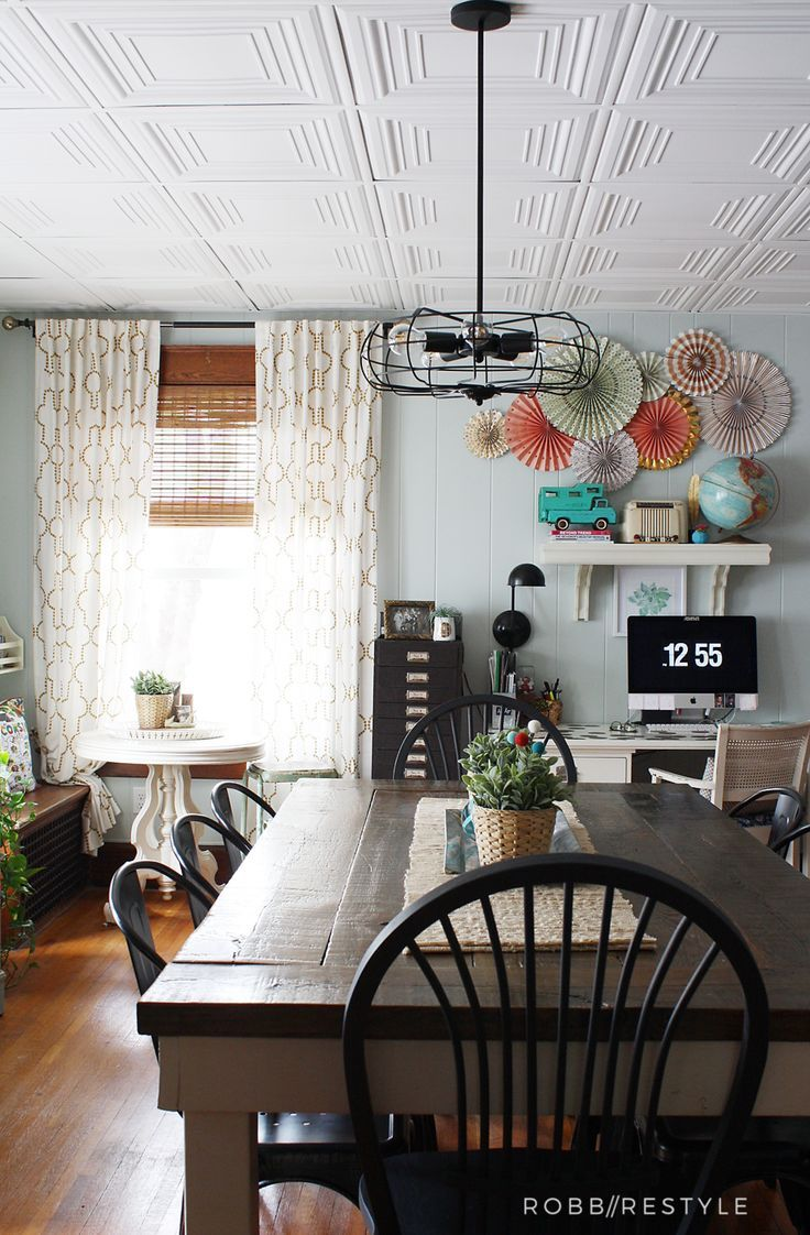 How to easily update your ugly tile drop ceiling - replace your panels and grid in under a day!