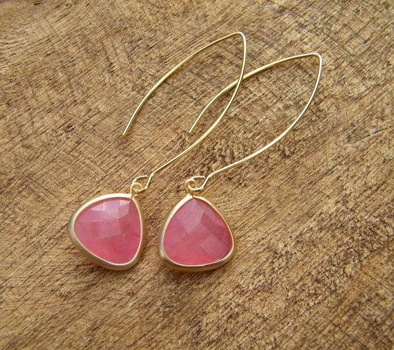 Coral Pink Dangle Earrings - Bridesmaids Earrings