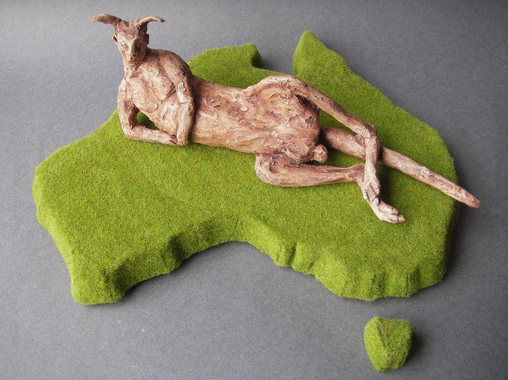 Kangaroo Australia -Endless Suburb - ceramic sculpture with kangaroo and artificial grass, green sculpture by LouiseFultonStudio on Etsy