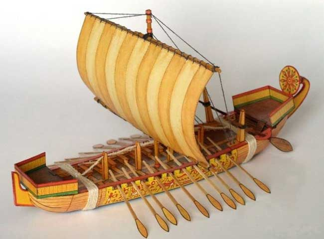 An Ancient Egyptian Sailboat Free Paper Model Download - http://www.papercraftsquare.com/ancient-egyptian-sailboat-free-paper-model-download.html#Sailboat, #Ship
