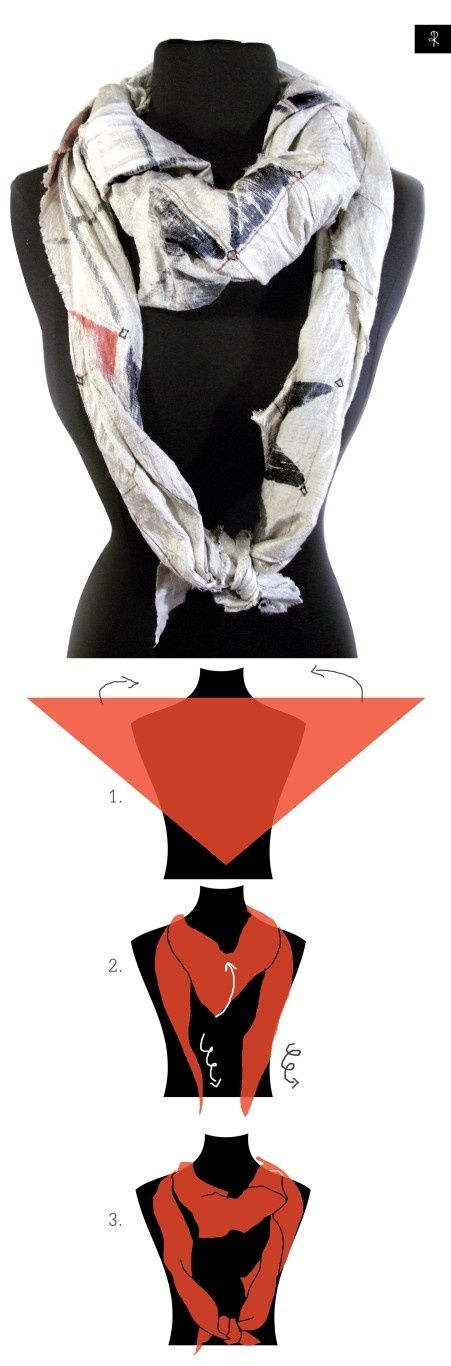 how to tie a triangle #scarf in 3 steps. This can apply to any larger square shape too, all you need to do is fold it in two diagonally. [1] place the triangle scarf flat on your chest and push the other two corners at the back [2] bring the two corners back to front, curl them in and tie a knot far at the bottom. Tuck in or curl in the middle corner. Fluff the scarf. #Rannka