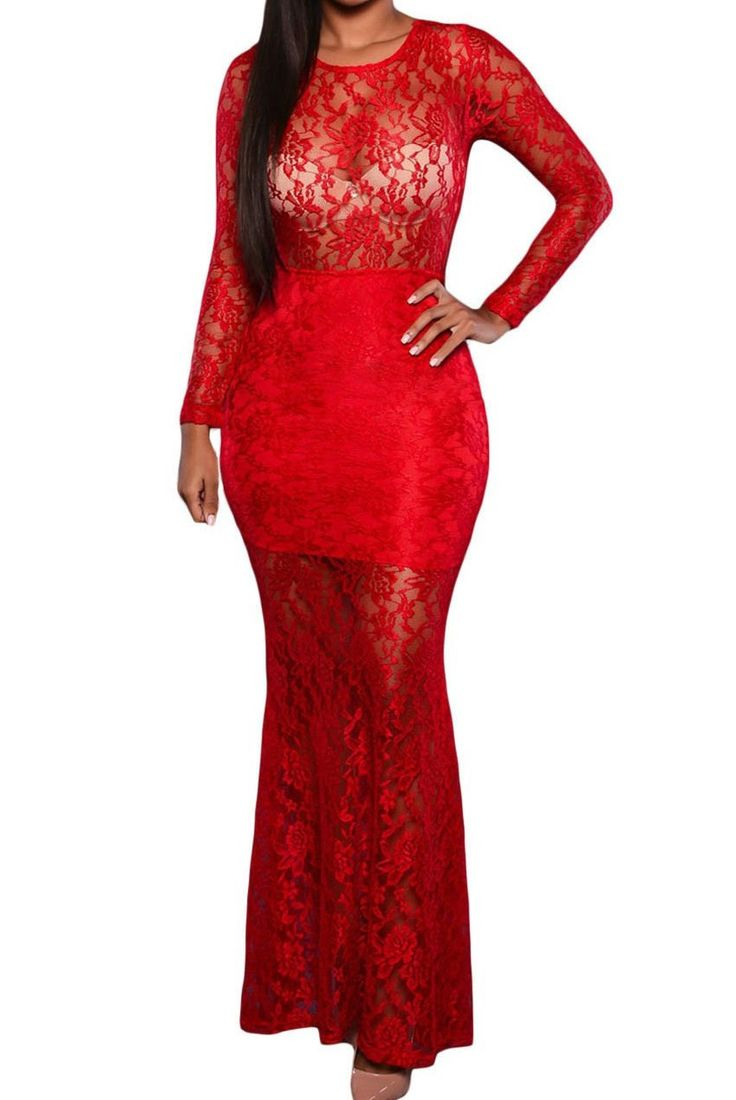Long Sleeves Red Lace Round Neck Lace-up Back Party Maxi Dress