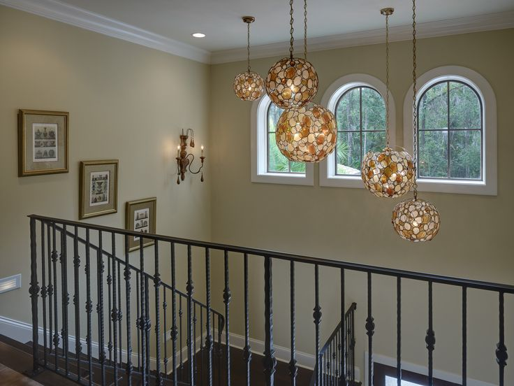 Multiple Pendants in 2 Story Foyer Alderman Interior