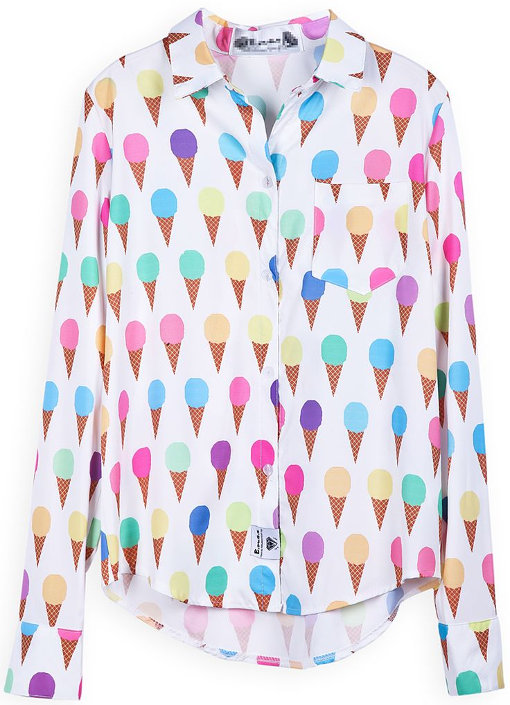 White Long Sleeve Ice Cream Print Blouse US$23.77