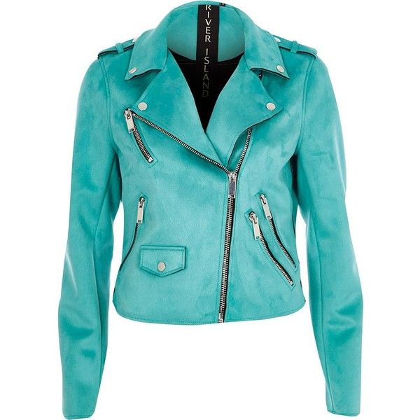 River Island Turquoise blue faux suede biker jacket ($120) ❤ liked on Polyvore featuring outerwear, jackets, coats / jackets, turquoise, women, moto biker jacket, tall jackets, long sleeve jacket, epaulet jacket and river island jackets