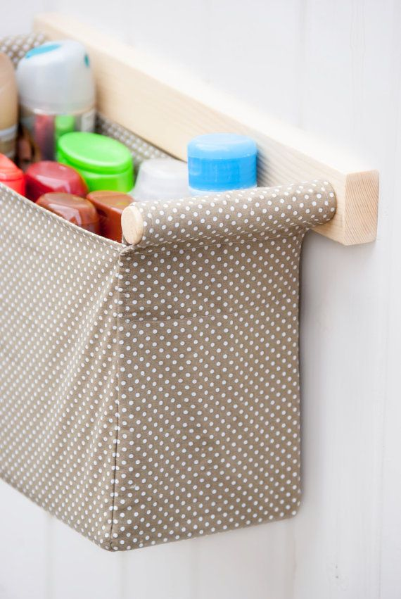 Wall hanging organizer - with 1 storage bin - beige and white dotted fabric - diaper caddy, organizing