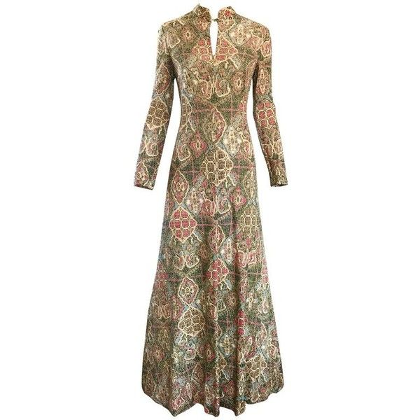 Preowned 1970s Adele Simpson Baroque Ethnic Print Lurex Boho Print... ($1,250) ❤ liked on Polyvore featuring dresses, brown, evening dresses, print maxi dress, long sleeve cocktail dresses, long sleeve boho dress, vintage cocktail dresses and long sleeve dress