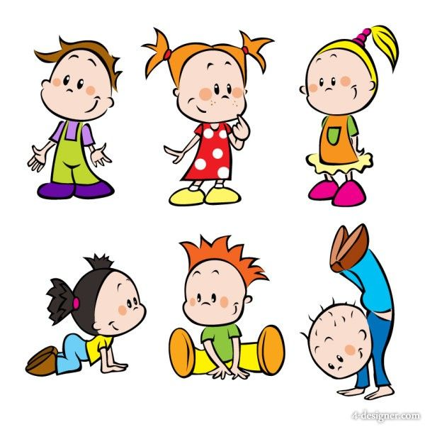 cartoon images of children 01 vector 20505jpg - Cartoon Drawings For Kids Free
