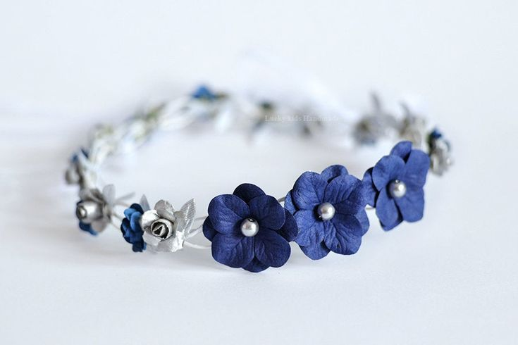 Navy blue and silver flower crown, Blue with silver floral crown, Silver wedding tiara, Bridal head wreath, Flower girl crown, Wedding crown