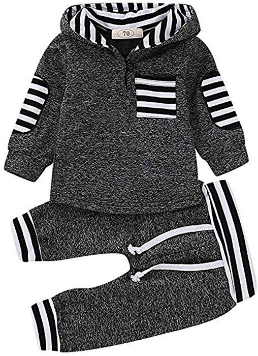 e016944d6 Amazon.com: Toddler Infant Baby Boys Winter Plaid Long Sleeve Hoodie Tops  Thick Sweatsuit Pants Outfit Set (Gray, 18-24 Months): Clothing