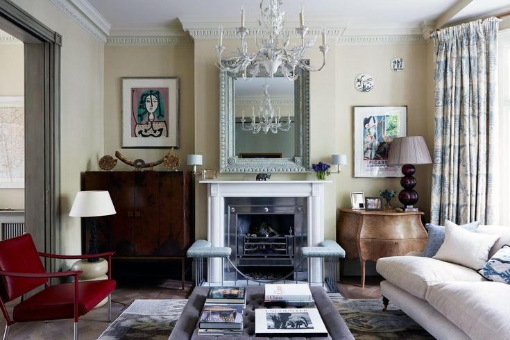 In one of London's original 'genteel residences', designer Cindy Leveson has risen to the challenge of updating a nineteenth-century house to create a functional twenty-first-century living space for a young family. At the front of the house, the sitting room has an 'Oak Leaf and Acorn' chandelier from Richard Taylor Designs, which centres the linen-upholstered ottoman/coffee table from Julian Chichester. [i]Taken from the December 2014 issue of House & Garden. Additional text: Caroline…