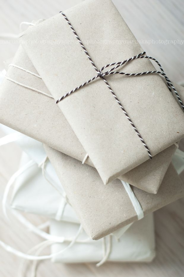 simple white and twine. the perfect gift