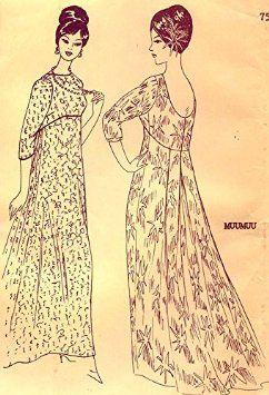 Amazon.com: Rare Vintage Uncut Pleated Back Hawaiian Muumuu Pattern - Vintage Size 12: Arts, Crafts & Sewing