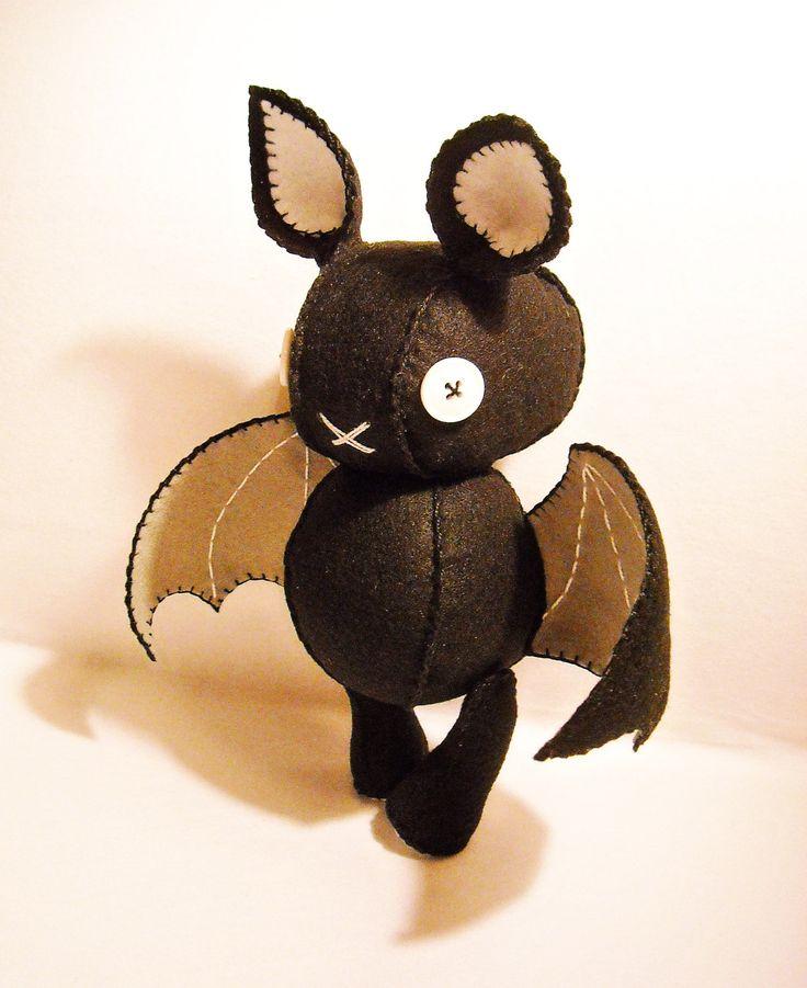 Love these goth inspired plush toys, so adorable    Felt black bat stuffed toy. $30.00, via Etsy.