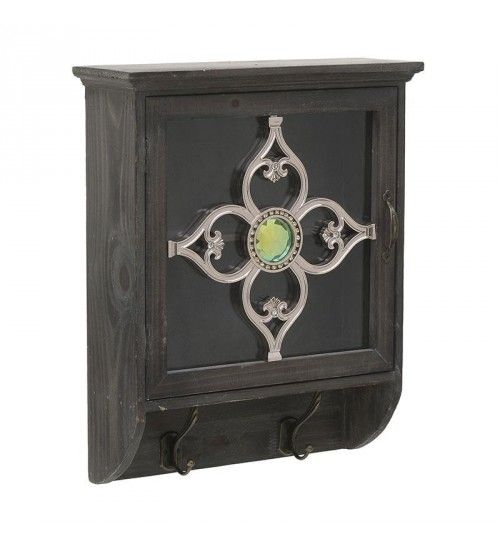 WOODEN_METALLIC WALL CABINET IN BROWN COLOR 37_5X13X46