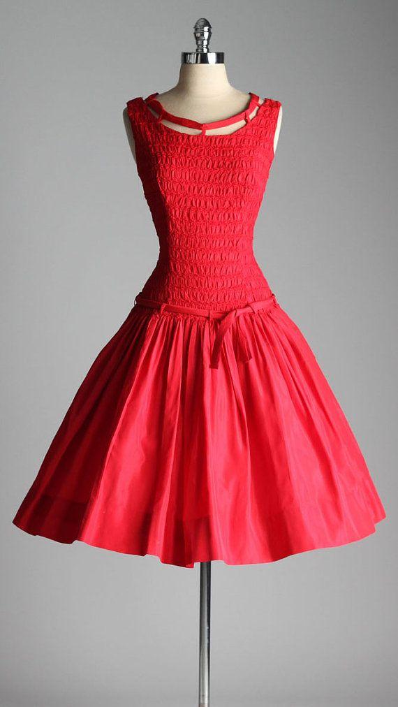vintage 1950s dress . VICKY VAUGHN . red by millstreetvintage