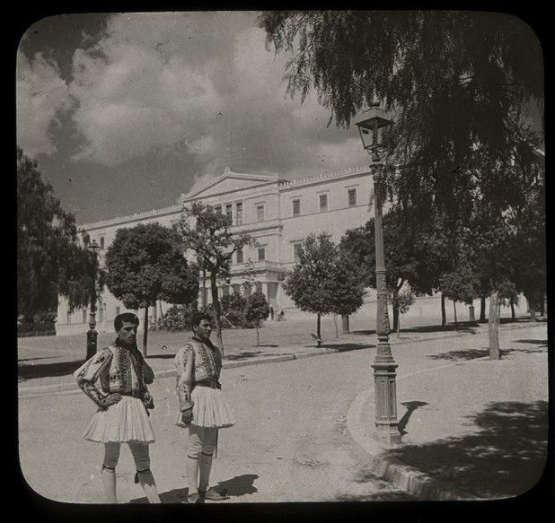 GREECE ATHENS THE ROYAL PALACE GUARDS MAGIC LANTERN SLIDE GLASS. www.ebay.com