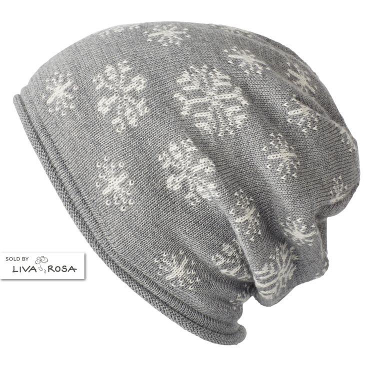 Skøn oversize vinterhue til piger med snefnug fra MP Denmark.