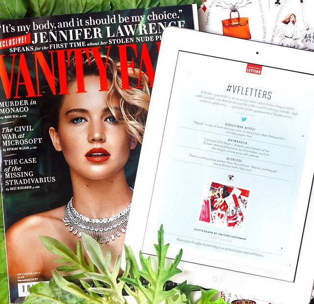 one of my flatlays was featured by Vanity Fair US on November 2014 issue.