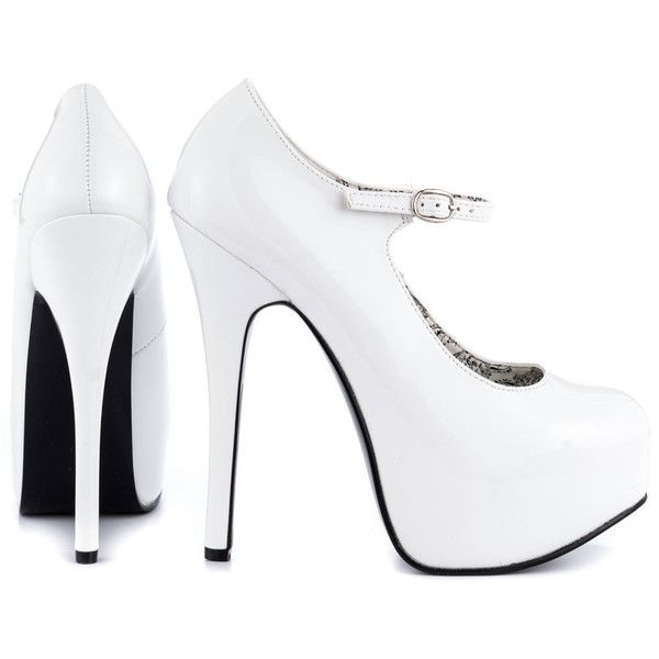 Viva Bordello Women's Windy City - White Pat ($70) ❤ liked on Polyvore featuring shoes, pumps, heels, sapatos, high heels, zapatos, white pat, high heels stilettos, heels stilettos and patent leather pumps