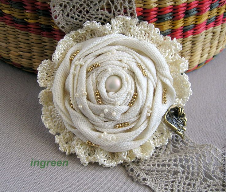 Купить Текстильная брошь из серии Экрю, №5 - кремовый, экрю, брошь, текстильная брошь