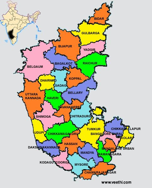 India States Map 2016.Karnataka Districts Map India Calling In 2019 India Map